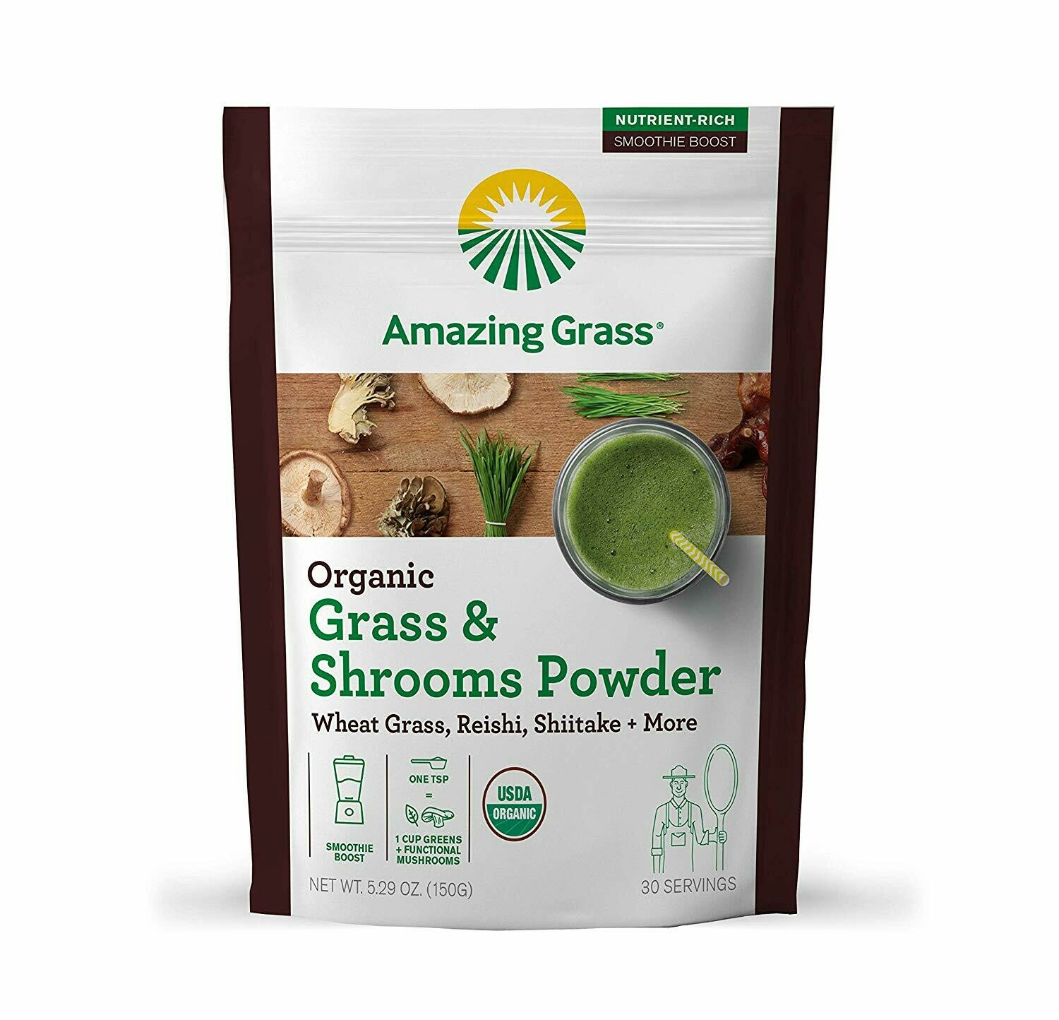Organic Greens & Shrooms Powder by Amazing Grass, with Wheatgrass, Reishi, Shittake, & More Mushrooms, Smoothie Booster, 30 servings