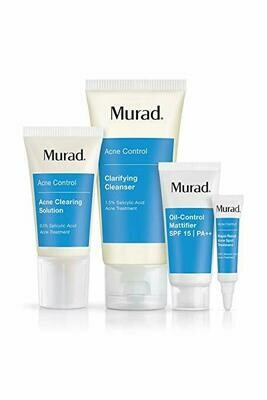 Murad 30 Day Acne Control Kit - (Cleanser, Clearing Solution, Oil Control Mattifier, Spot Treatment), Starter Kit Proven to Rapidly Clear Breakouts and Restore Smooth Skin Without Over-Drying