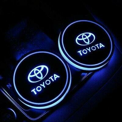 2pcs LED Car Cup Holder Lights ,7 Colors Changing USB Charging Mat Luminescent Cup Pad, LED Interior Atmosphere Lamp for TOYOTA