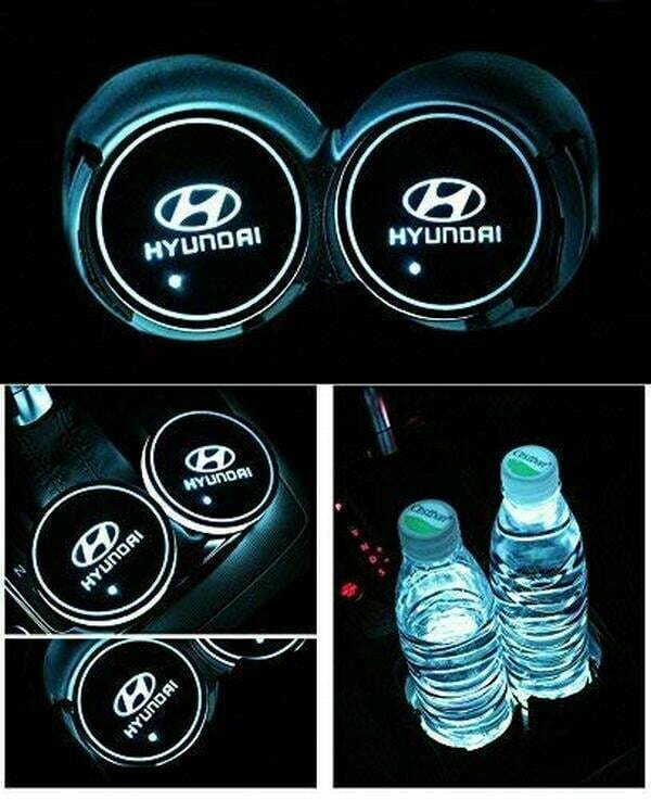 2pcs LED Car Cup Holder Lights ,7 Colors Changing USB Charging Mat Luminescent Cup Pad, LED Interior Atmosphere Lamp for HYUNDAI