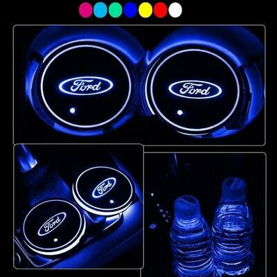2pcs LED Car Cup Holder Lights ,7 Colors Changing USB Charging Mat Luminescent Cup Pad, LED Interior Atmosphere Lamp for FORD