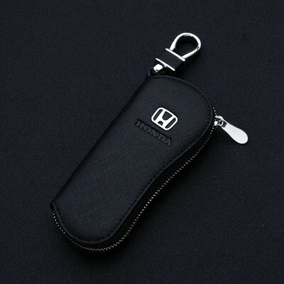 Car Key Case Genuine Leather Car Smart Key Chain Keychain Holder Metal Hook and Keyring Zipper Bag for Key Fob for HONDA (BLACK)