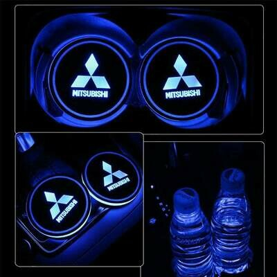 2pcs LED Car Cup Holder Lights ,7 Colors Changing USB Charging Mat Luminescent Cup Pad, LED Interior Atmosphere Lamp for Mitsubishi RALLIART LANCER ASX OUTLANDER GALANT GRANDIS Colt Plus Zinger Triton