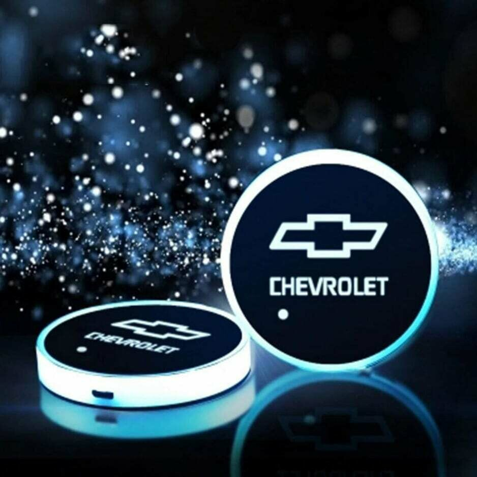 2pcs LED Car Cup Holder Lights ,7 Colors Changing USB Charging Mat Luminescent Cup Pad, LED Interior Atmosphere Lamp for CHEVROLET