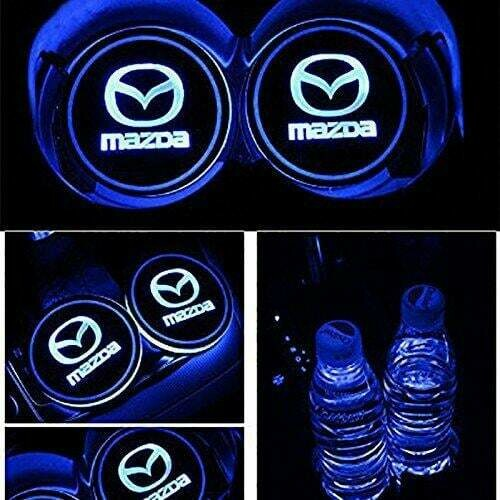 2pcs LED Car Cup Holder Lights ,7 Colors Changing USB Charging Mat Luminescent Cup Pad, LED Interior Atmosphere Lamp for MAZDA