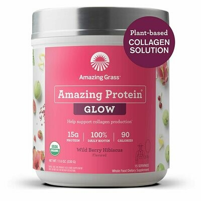 Amazing Grass GLOW Vegan Collagen Support with Biotin and Plant Based Protein Powder, Wild Berry Hibiscus, 15 Servings