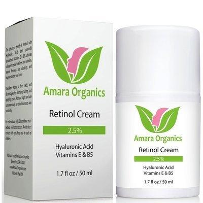 Amara Organics Retinol Cream for Face 2.5% with Hyaluronic Acid & Vitamins E & B5, 1.7 fl. oz.