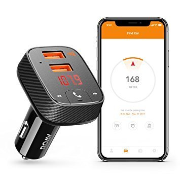 Roav by Anker SmartCharge Car Kit F2, Wireless In-Car FM Transmitter Radio Adapter, Bluetooth 4.2 Receiver, Car Locator, App Support, Dual-USB Car Charger With Power IQ AUX Output USB Drive MP3 Player