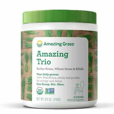 Amazing Grass Organic Amazing Trio Greens Powder with Wheat Grass, Barley Grass and Alfalfa, 30 Servings