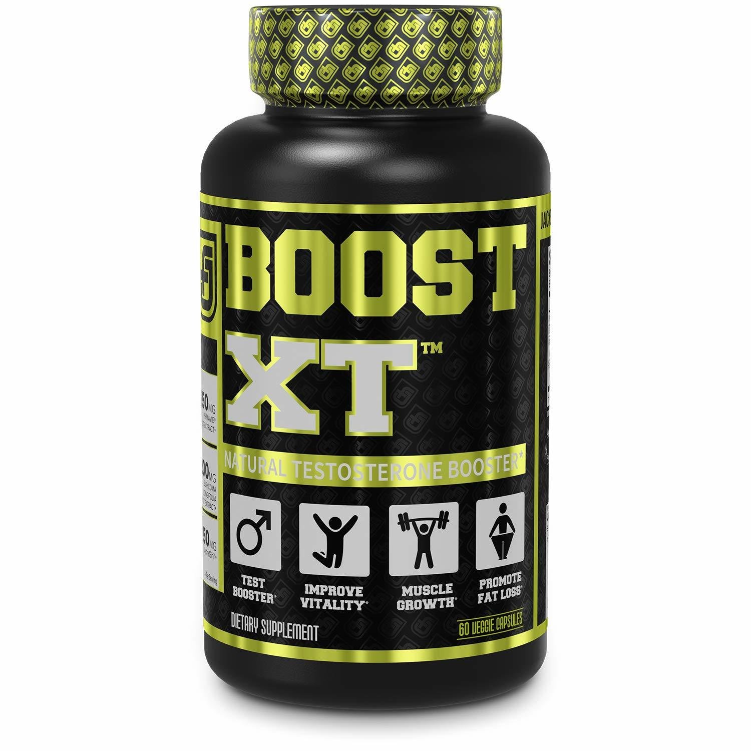 Jacked Factory Boost-XT Testosterone Booster for Men - Boost Energy, Strength, Fat Loss, Libido - Natural Test Booster & Muscle Builder 60caps