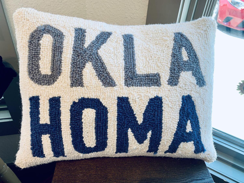 Oklahoma Hook Pillow (Okla in gray Homa in blue)