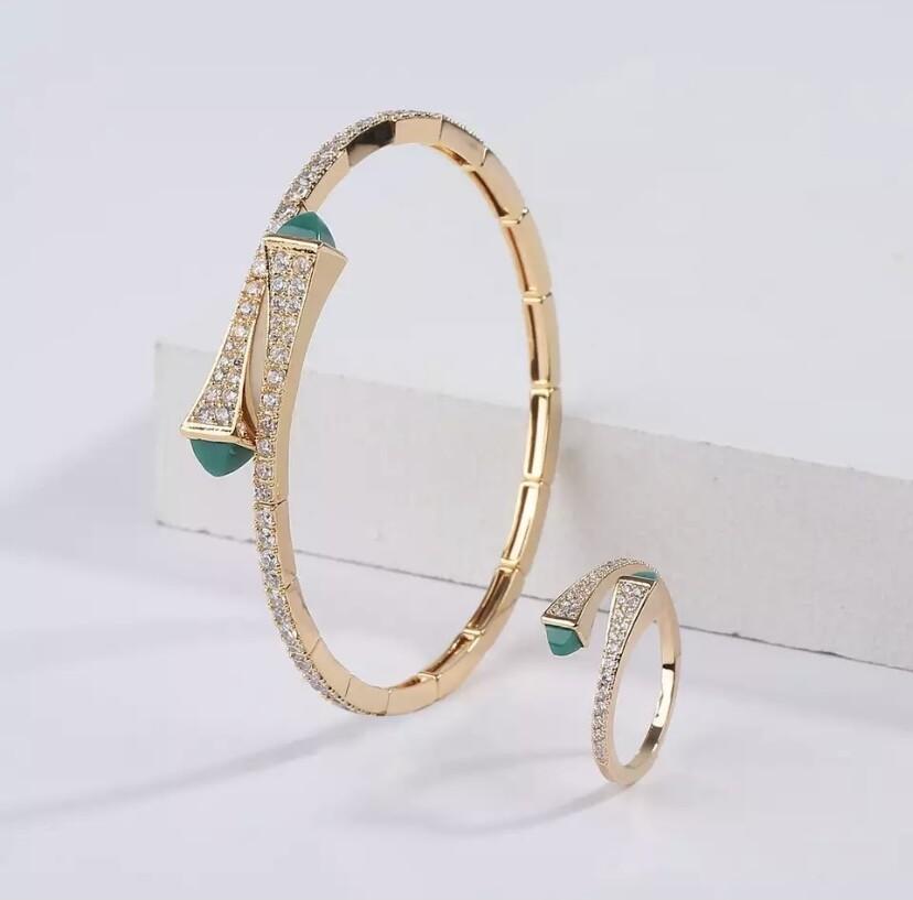 Green/Gold Bracelet & Ring Set
