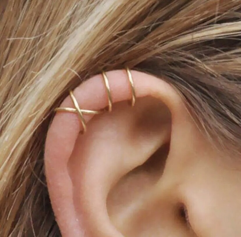 Gold Cartilage Earrings ( clip on)