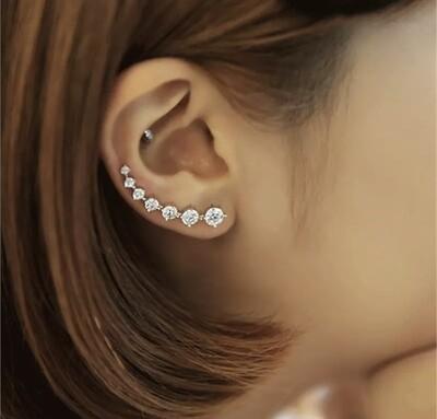 Silver Long Stud Earrings