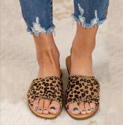 Leopard Print Flat Sandals