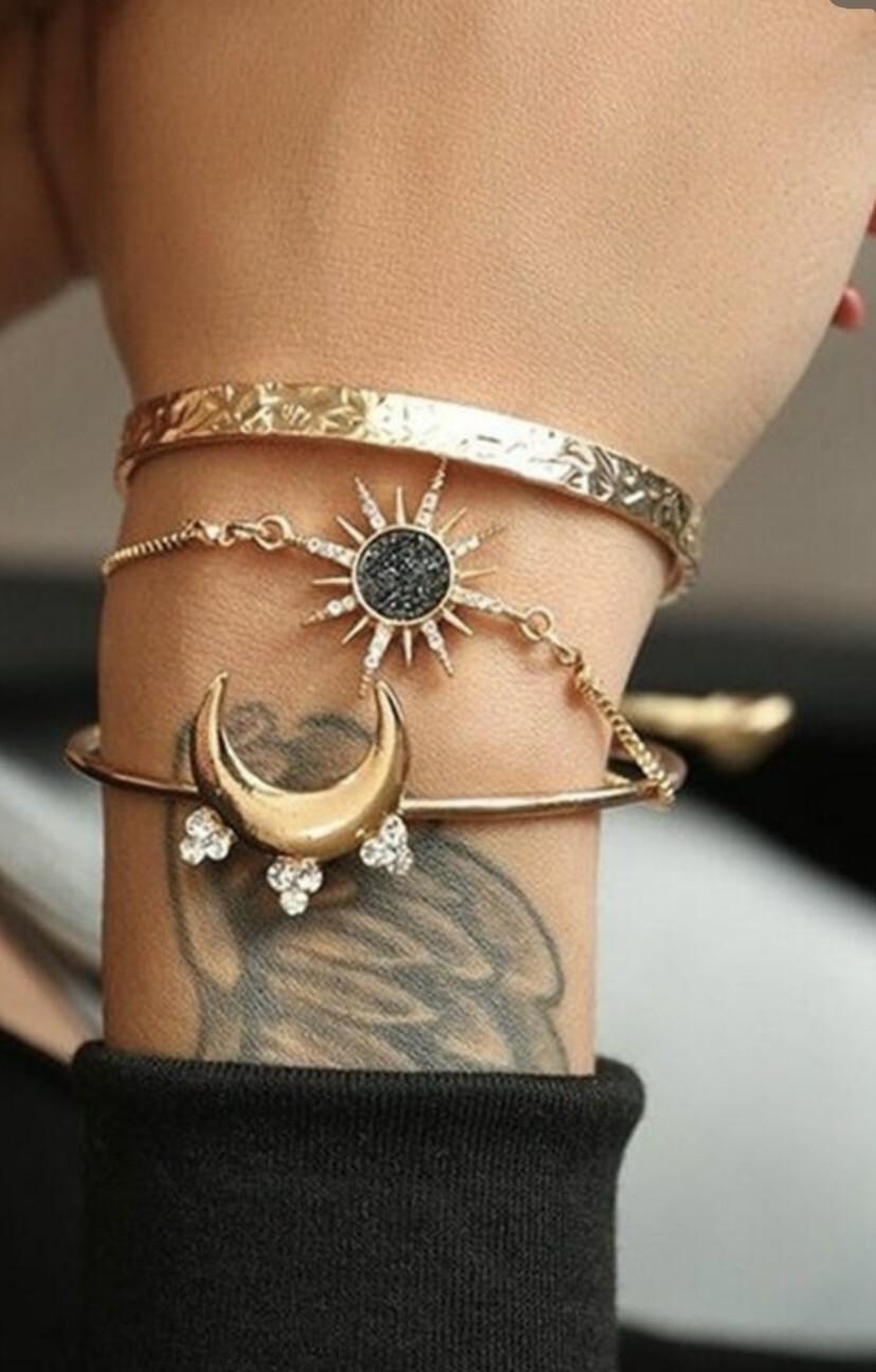 3pcs Star Moon Bracelet Set