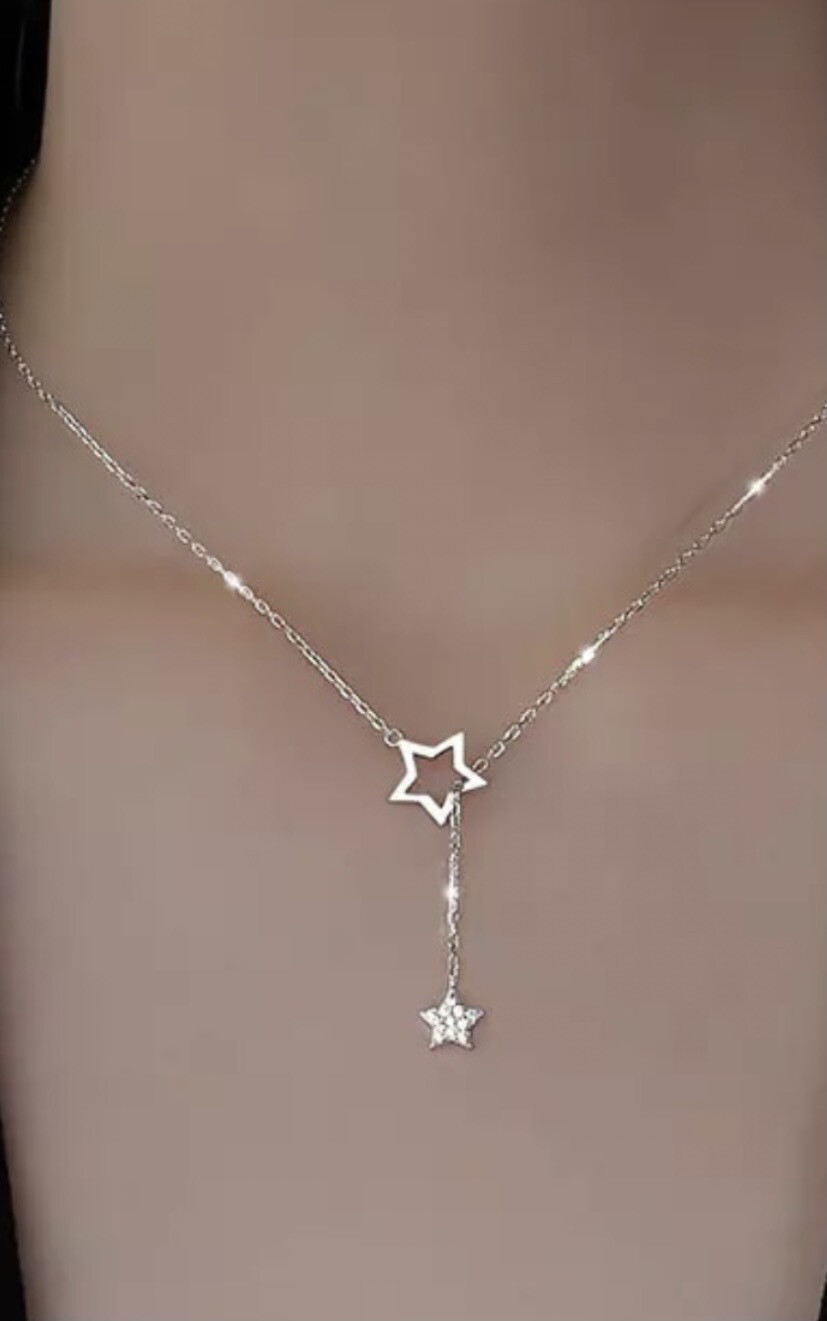 Diamond Star Drop Necklace