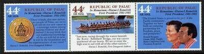 Palau C16a MNH Haruo I. Remeliik, Ronald Reagan, Canoe