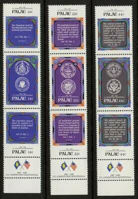 Palau 157a,160a,163a MNH US Constitution, Flags, Crests