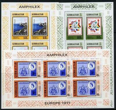 Gibraltar 356-8 Sheets MNH Lighthouse, Stamp on Stamp