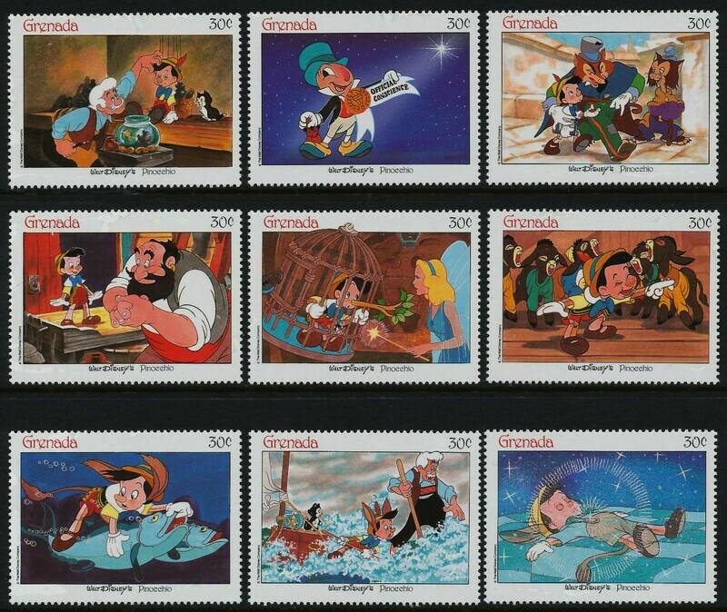 Grenada 1543a-i MNH Disney, Pinocchio