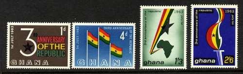 Ghana 143-6 MNH Flags, Map, 3rd Anniversary of Independence