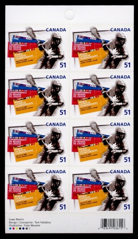 Canada 2161a Booklet MNH Sports, Lacrosse