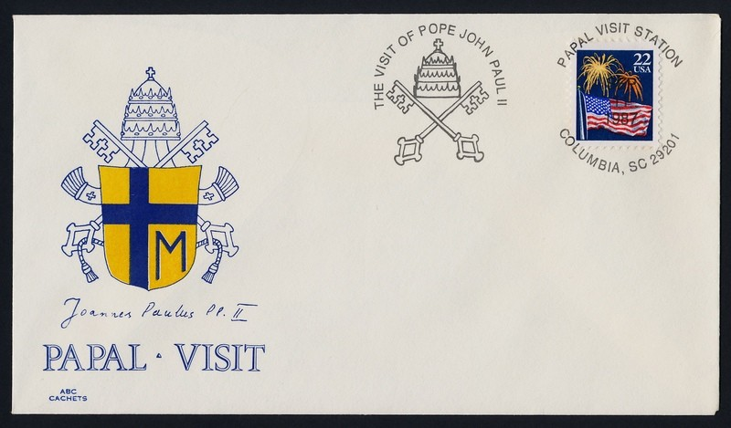 USA 2276 on cover - Pope John Paul II visit to America Cachet, Columbia Cancel