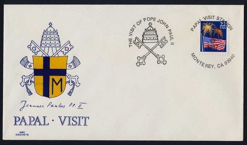 USA 2276 on cover - Pope John Paul II visit to America Cachet, Monterey Cancel