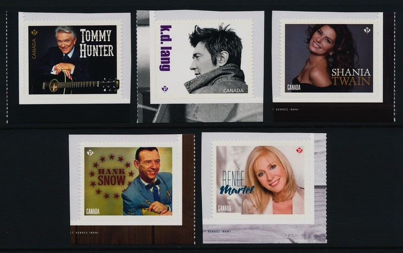 Canada 2766-70 MNH Country Music Artists, Shania Twain, Hank Snow
