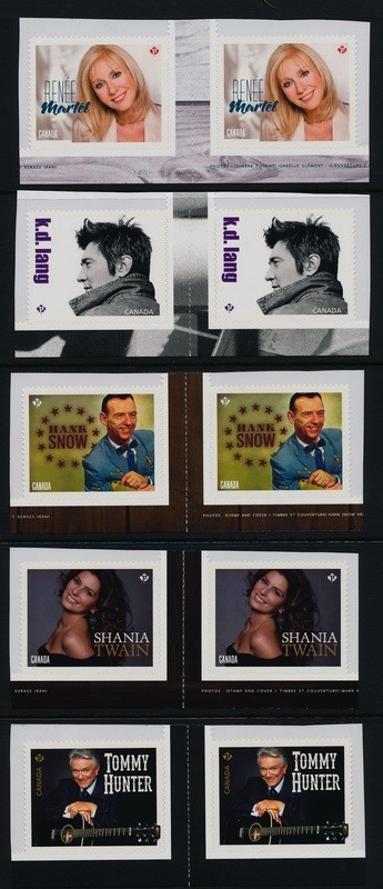 Canada 2766-70 Gutter Pairs MNH Country Music Artists, Shania Twain, Hank Snow