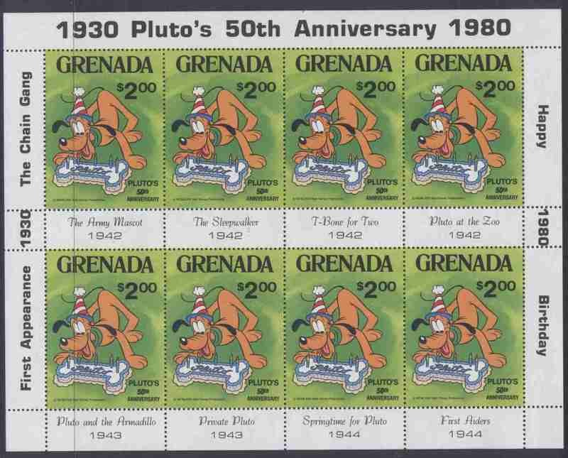 Grenada 1031 Sheet MNH Disney, Pluto, Dog, Birthday