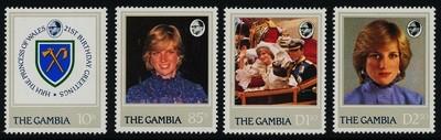Gambia 447-50 MNH Princess Diana 21st Birthday, Coat of Arms