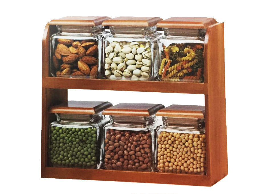 6-Glass Jars with Wooden Rack