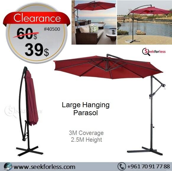 Large Hanging Parasol - Burgundy