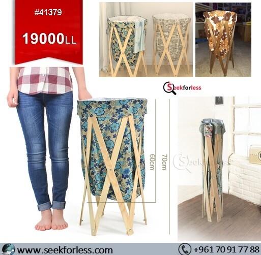 Pop-Up Wood Frame Laundry Basket