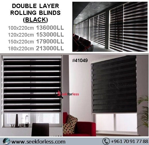 Double Layer Rolling Blinds - BLACK
