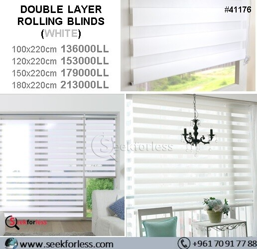 Double Layer Rolling Blinds - WHITE