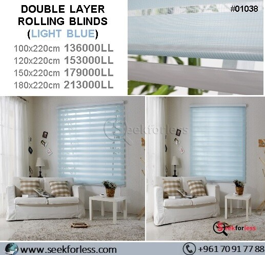 Double Layer Rolling Blinds - BLUE