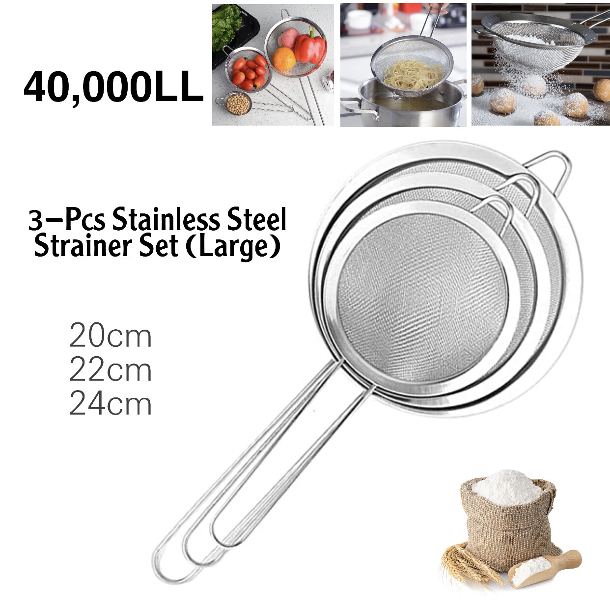 3-Pcs Strainer Set (Large)