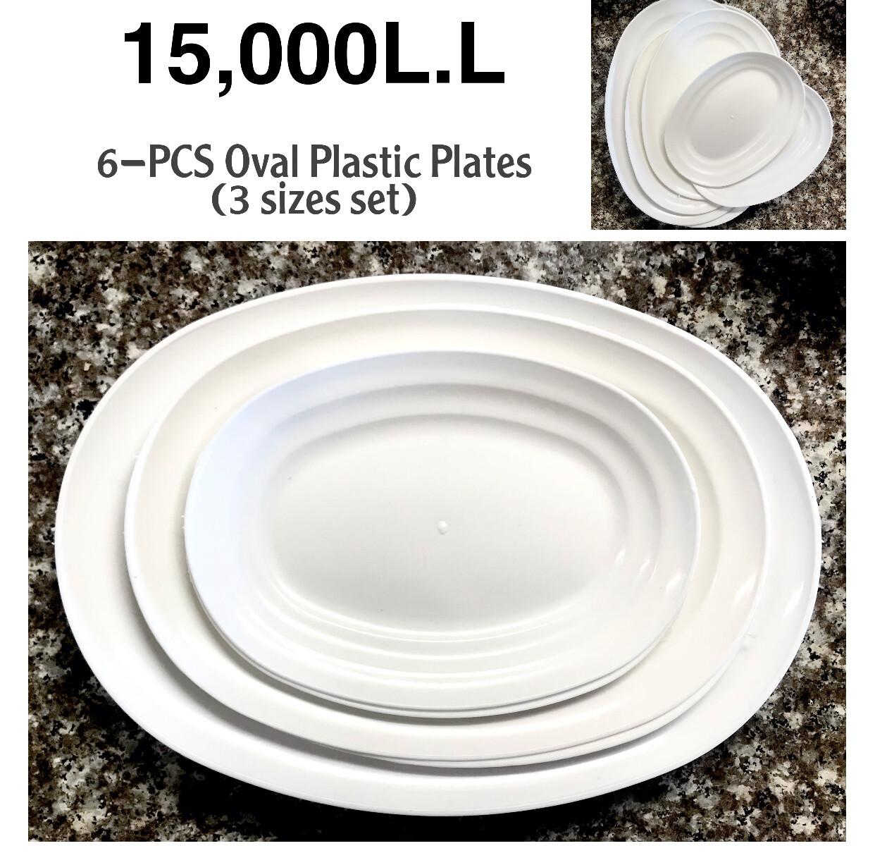 6-Pcs Oval Plastic Plates