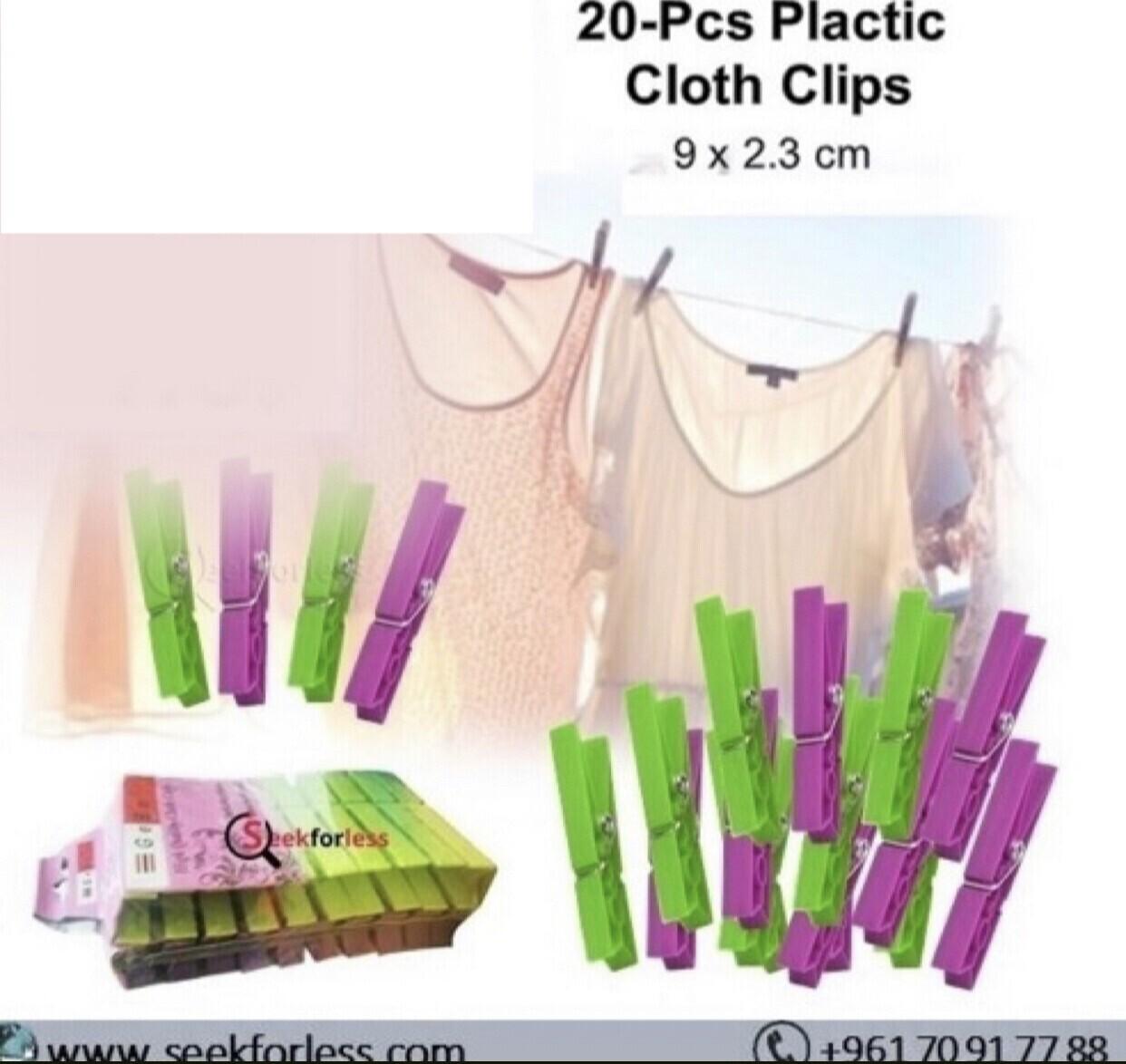 20-Pcs Plastic Cloth Clips