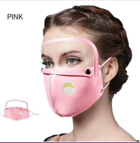 Mask with face Shield Pink