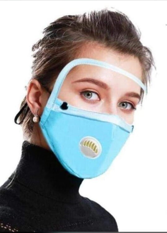 Face mask and shield (blue)