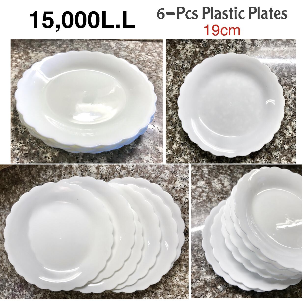 6-Pcs Plastic Plates (19cm)