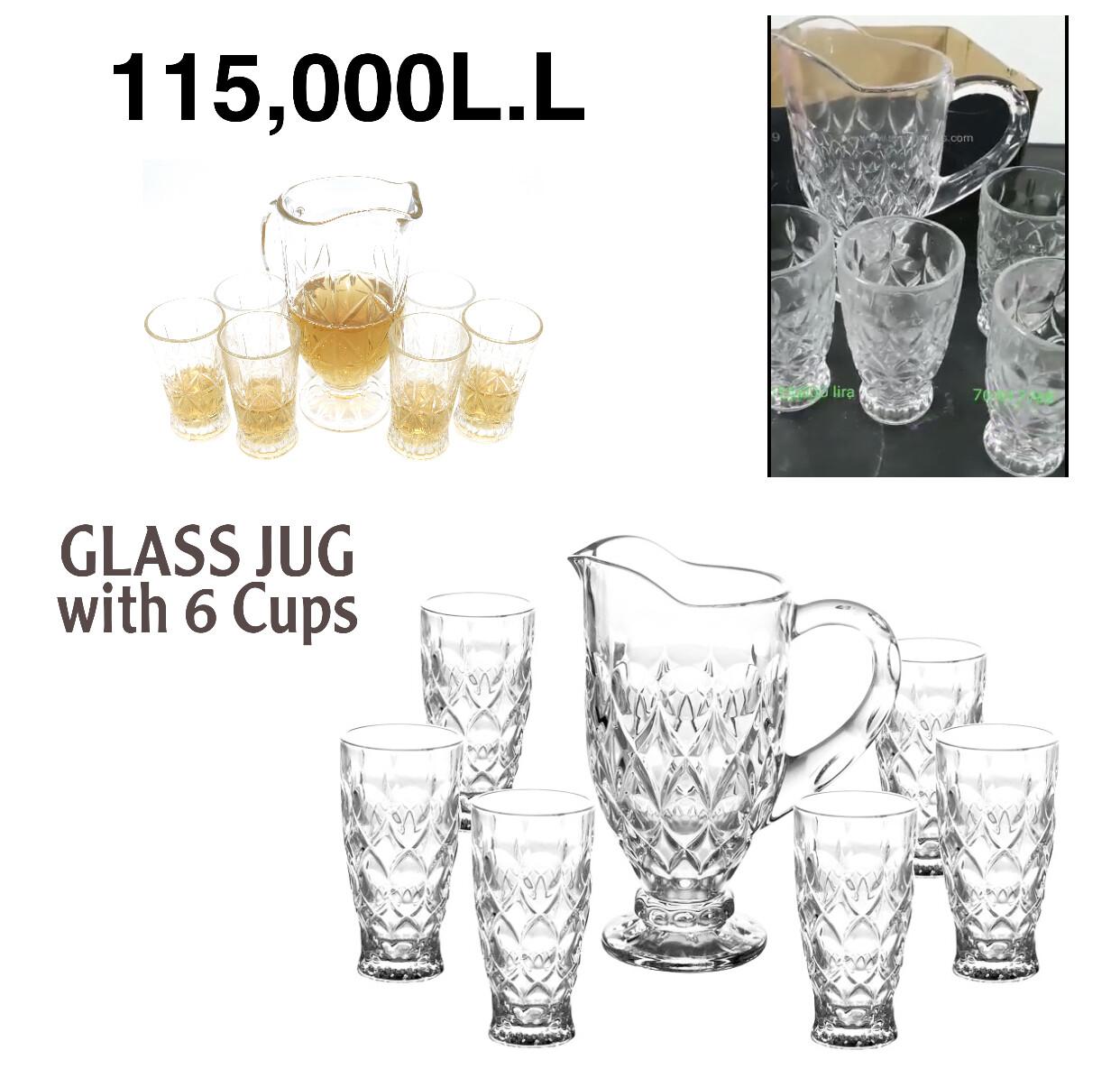 Glass Jug w/6 Cups