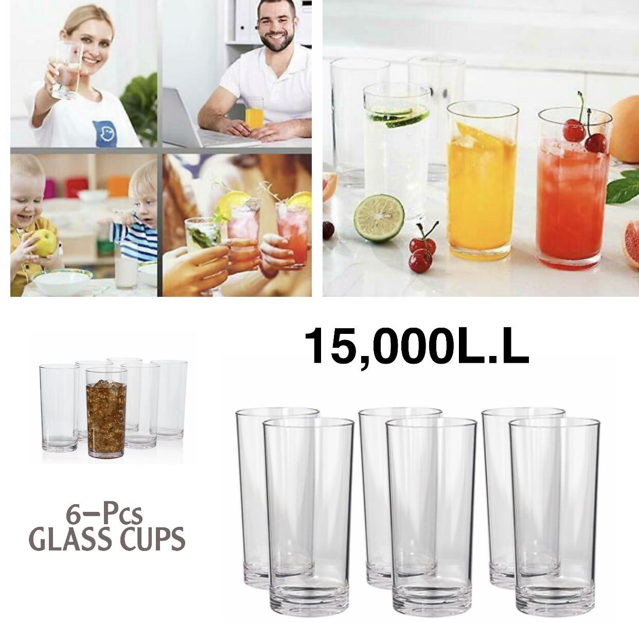 6-Pcs Clear Glass Cups