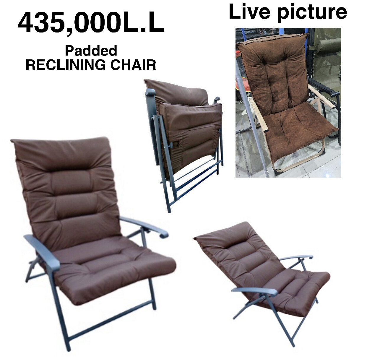 Padded Recliner Chair (BROWN)