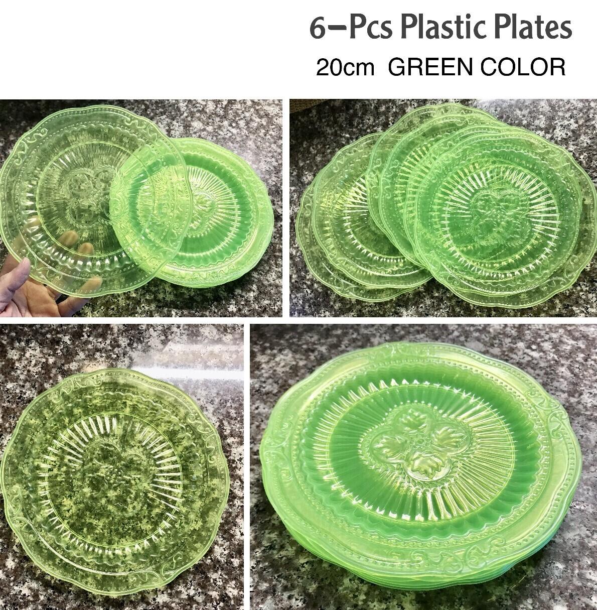 6-Pcs Plastic Plates (Green)