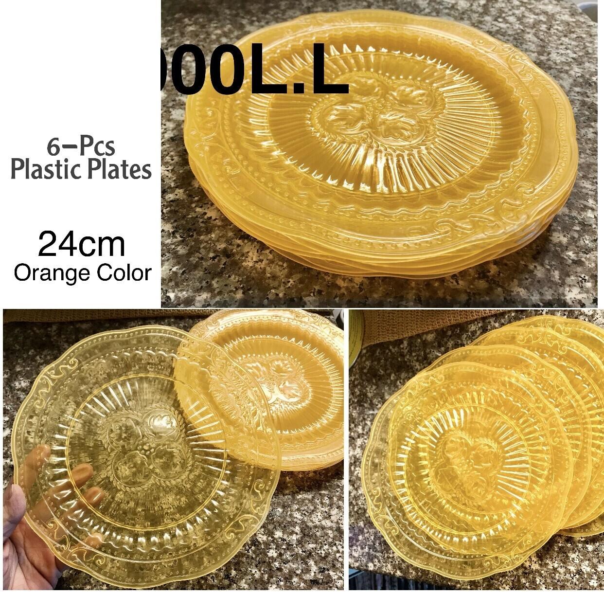 6-Pcs Plastic Plates (Orange)